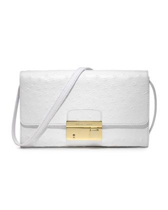 Michael Kors Gia Ostrich-Embossed Clutch. $450