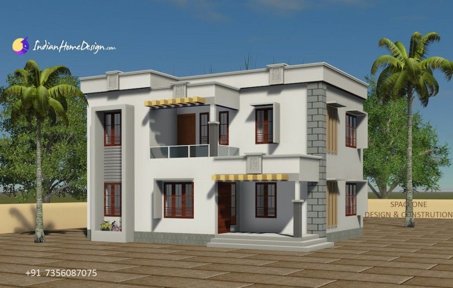 1610 Sqft 4 Bhk Flat Roof House Design By Spaceone Design And Construction Flat Roof House Designs Flat Roof House Roof Design