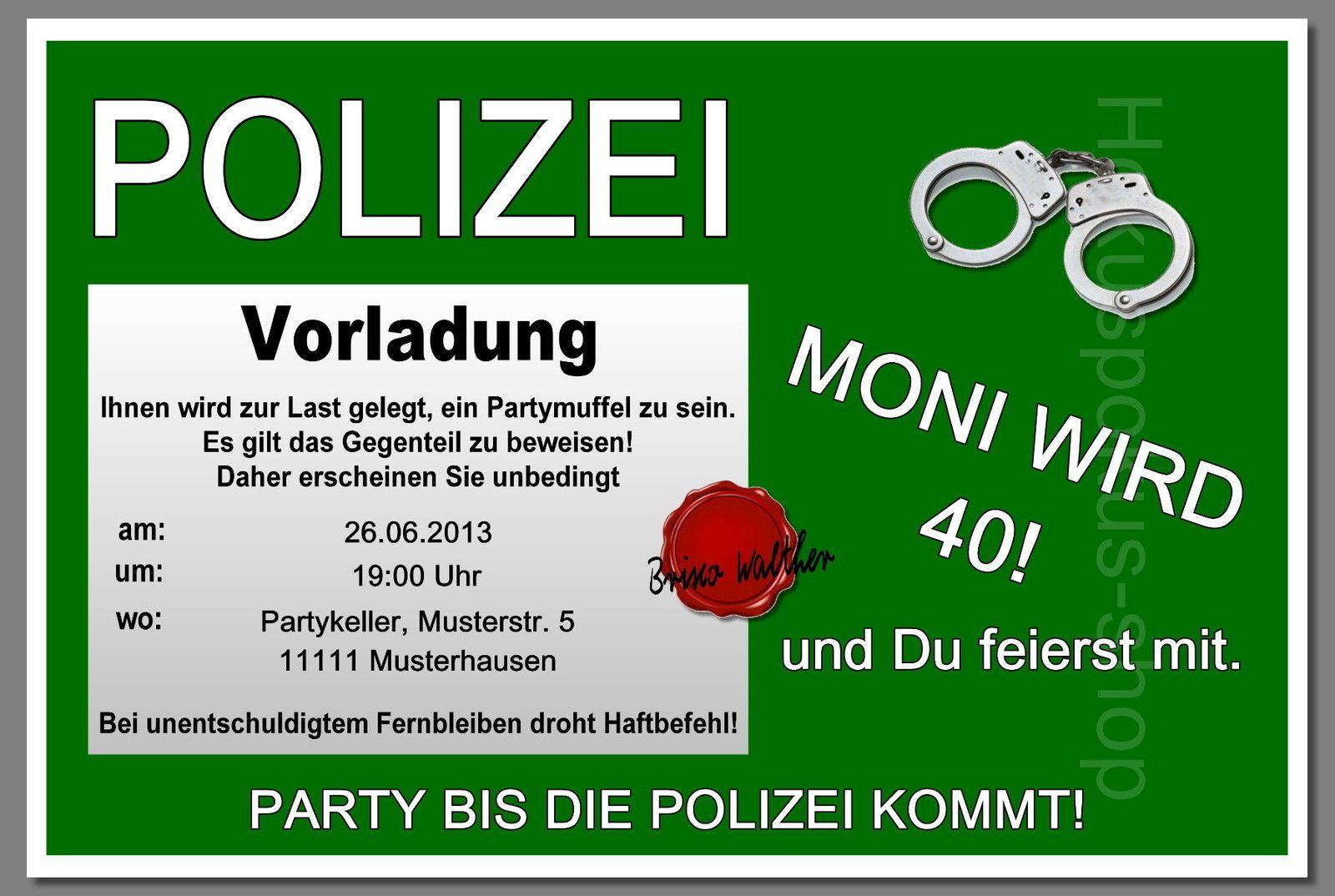 10 Einladungskarten POLIZEI Geburtstag Einladungen Geburtstagseinladung U2022  EUR 15,60