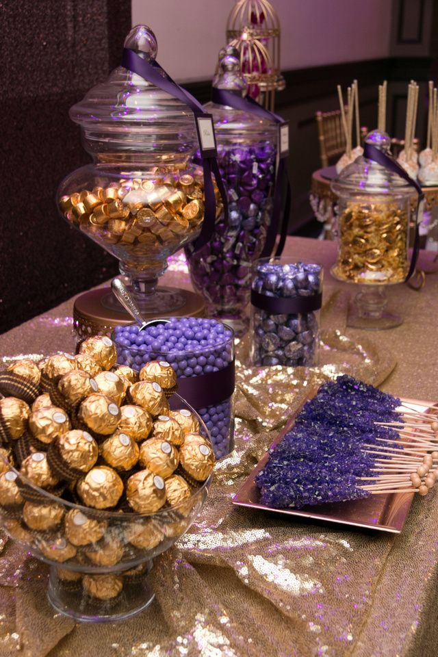 purple themed bridal shower%0A Sweet    Purple  u     Gold Candy Bar