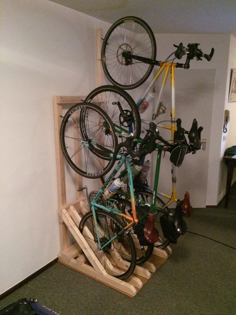 Vertical Bike Rack From 2x4s Bike Storage Garage Vertical Bike