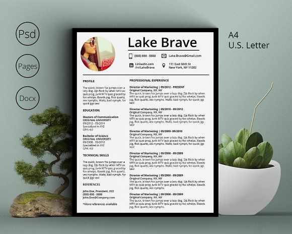 Lake Brave Resume CV 5 Pack Resume cv and Template