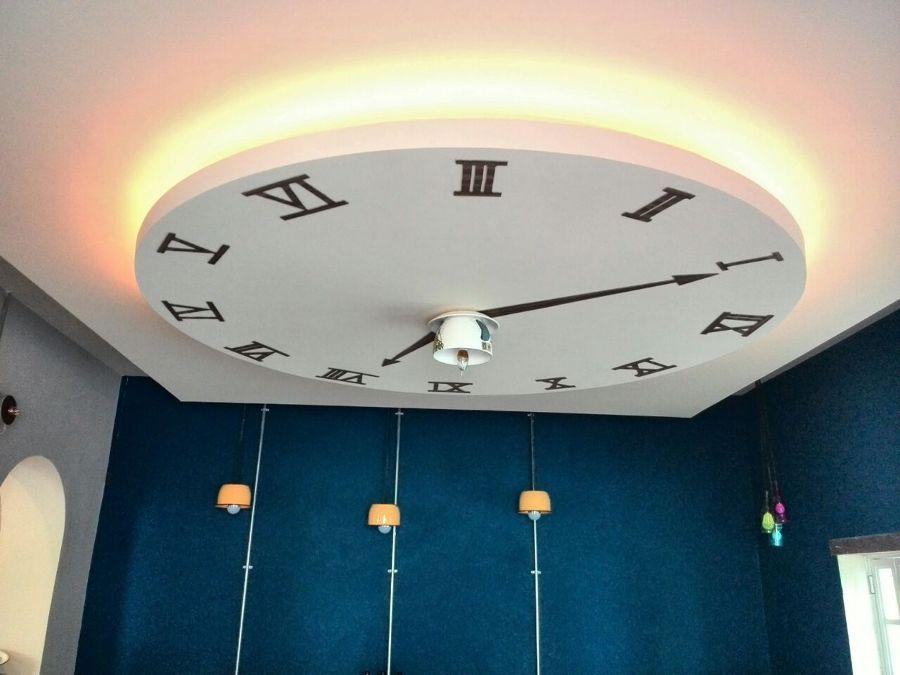 Falso plaf n de tablaroca con dise o de un reloj cebefas for Plafones pared originales