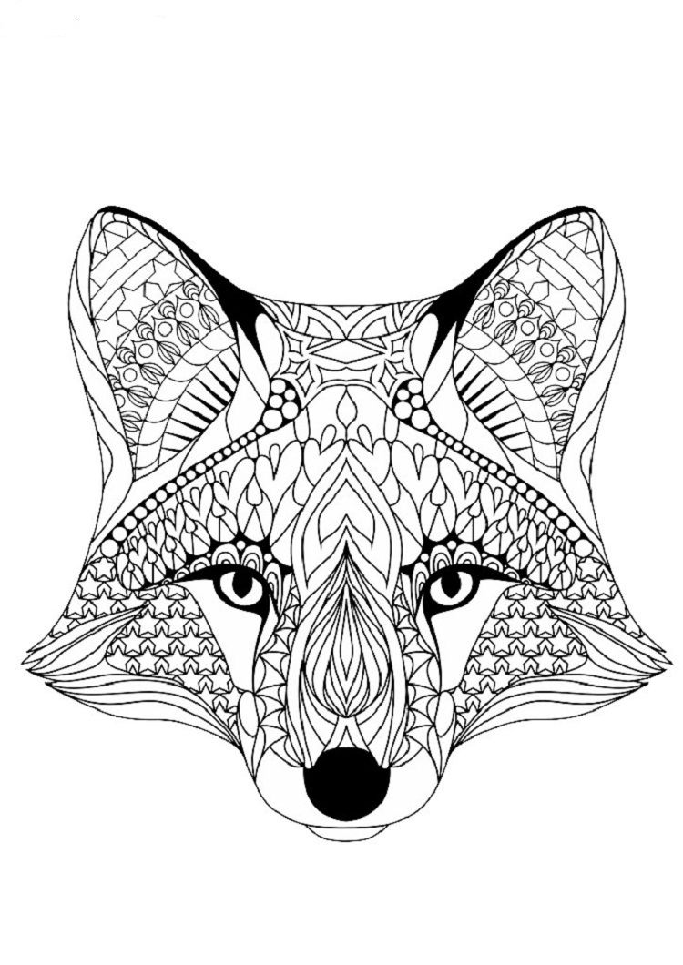 Geometric Dog Coloring Pages | Fox coloring page, Animal ...
