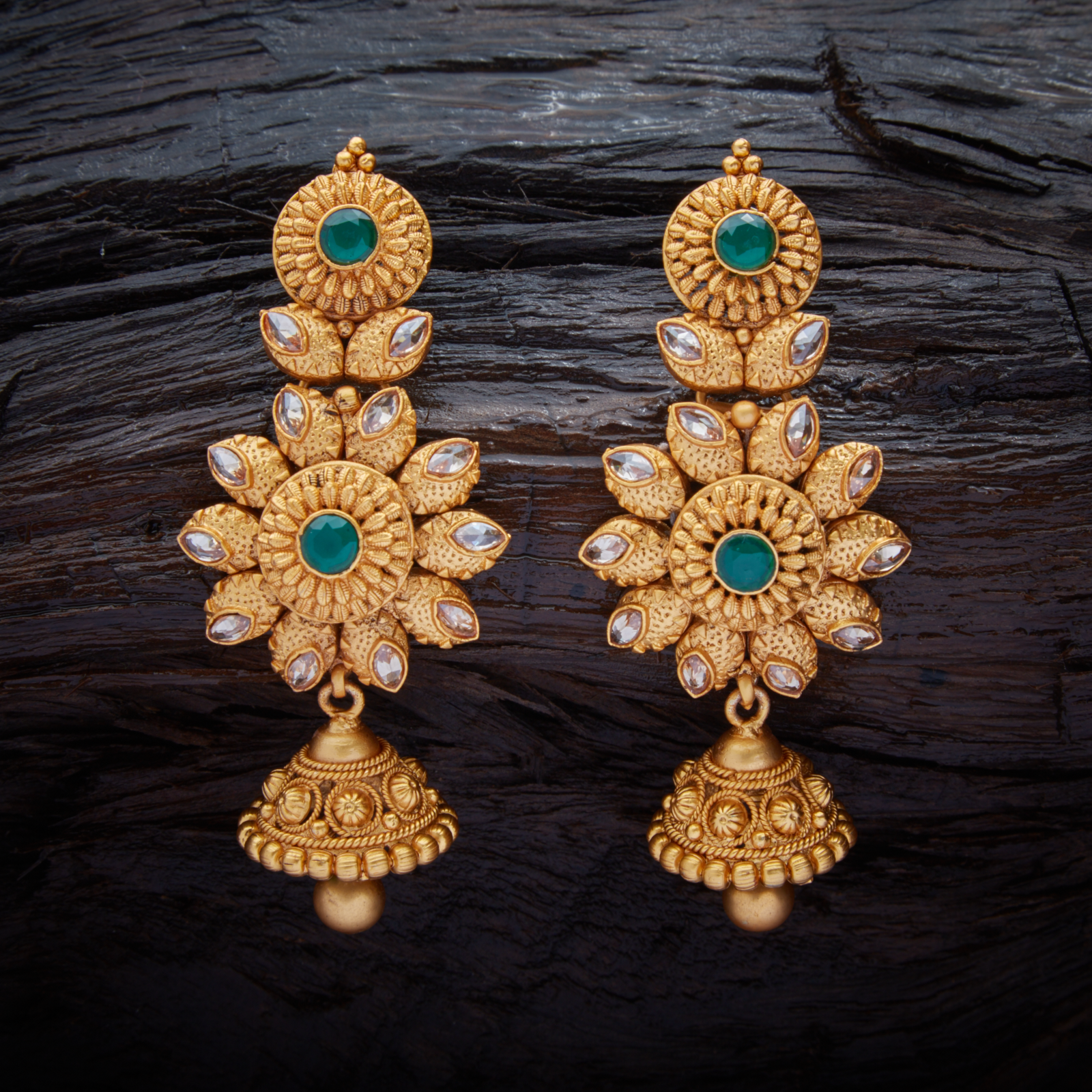 Vintage Antique Hanging Earrings Studded With Green Synthetic Stones With Gold Polish Gold Jewelry Fashion Antique Jewelry Indian Antique Earrings