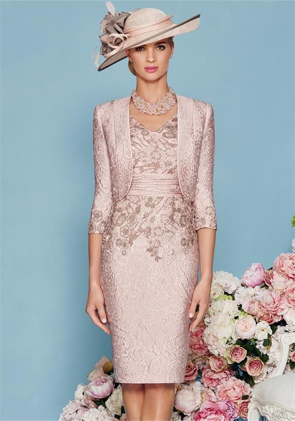 Ronald Joyce 2016 Mother Of The Bride Dresses For Weddings Knee Length Lace Lique Sheath S Dress V Neck Evening Gowns