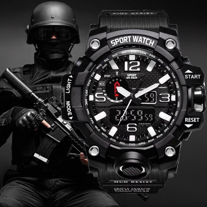 Men Military Tactical Style Army Sports Watch Led Digital And Analog Display Military Watches Digital Sports Watch Watches For Men
