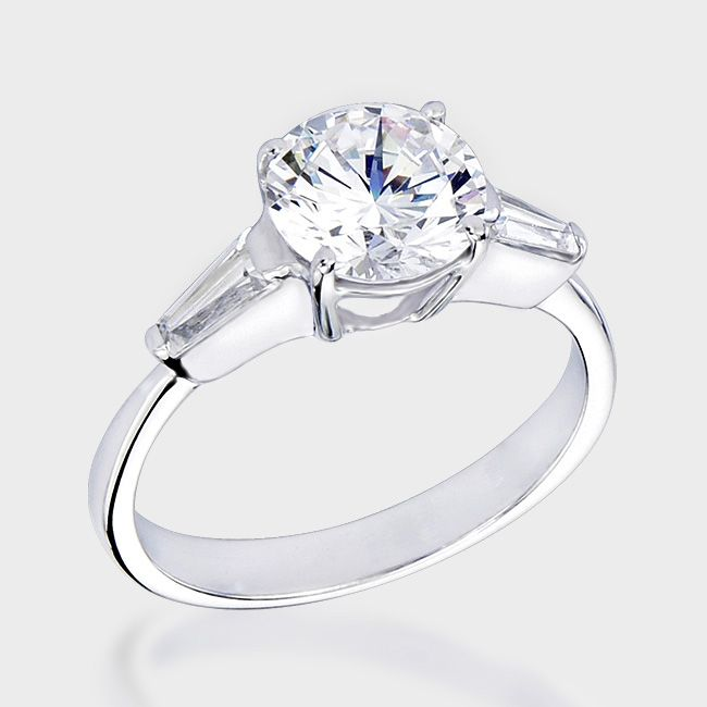 1.5 Ct. Round Baguette CZ Solitaire Engagement Ring