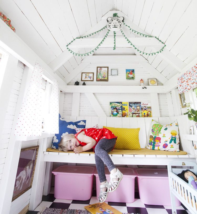 Fun ideas for our playhouse - bench, storage, paint the walls WHITE, peel  stick tile.  the boo and the boy: A most gorgeous playhouse