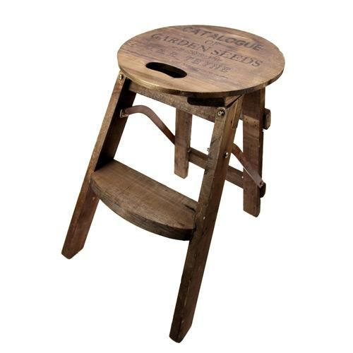 Vintage Wooden Step Stool Collapsable Vintage Home Wedding