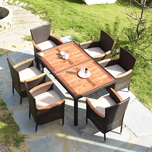 Tangkula 7 Pcs Outdoor Patio Dining Set Garden Dining Set Sale Backyardequip Com Wicker Dining Tables Outdoor Dining Set Patio Dining Set Outdoor table and chairs for sale