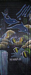 bamboo door curtain with reef fish