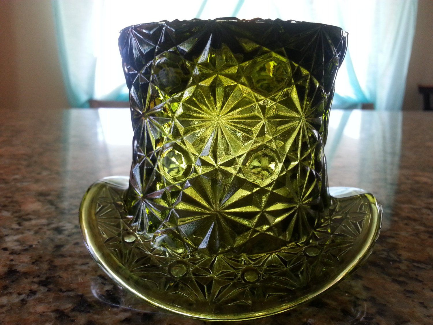 Daisy and Button Hat, green pressed glass flower bowl vase