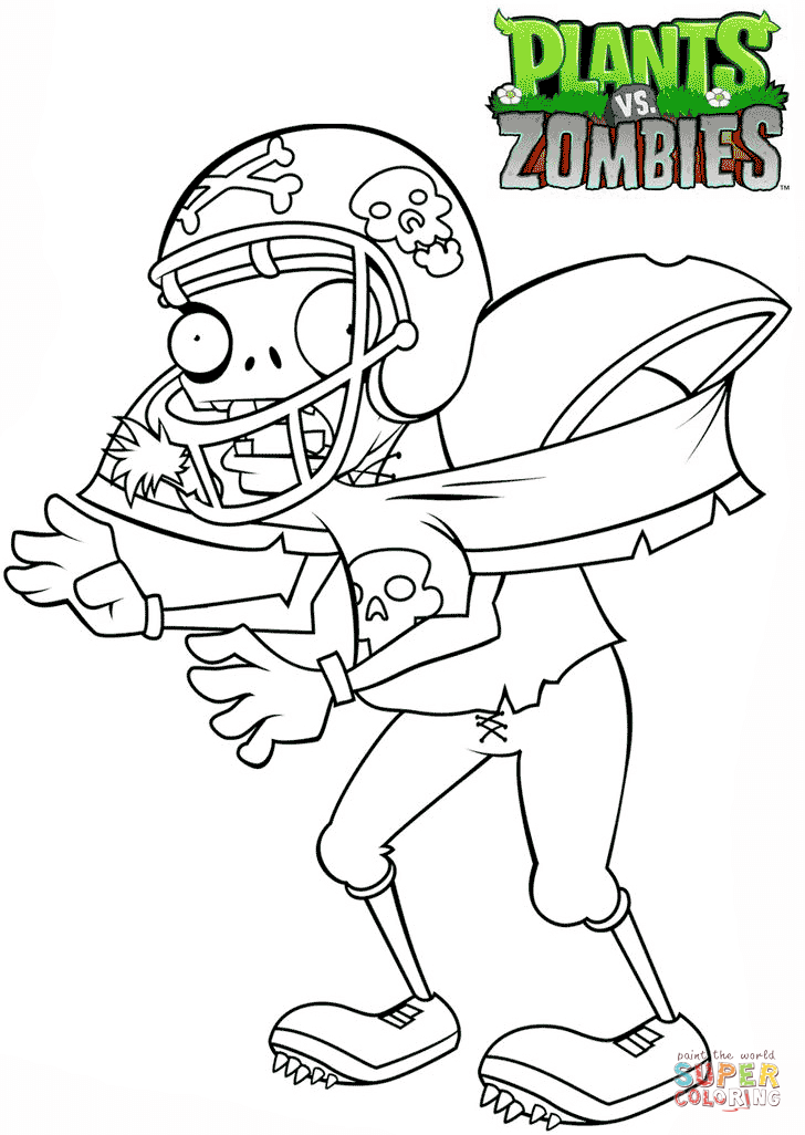Plants Vs Zombies Football Zombie Super Coloring Cartoon Coloring Pages Coloring Pages Dragon Coloring Page