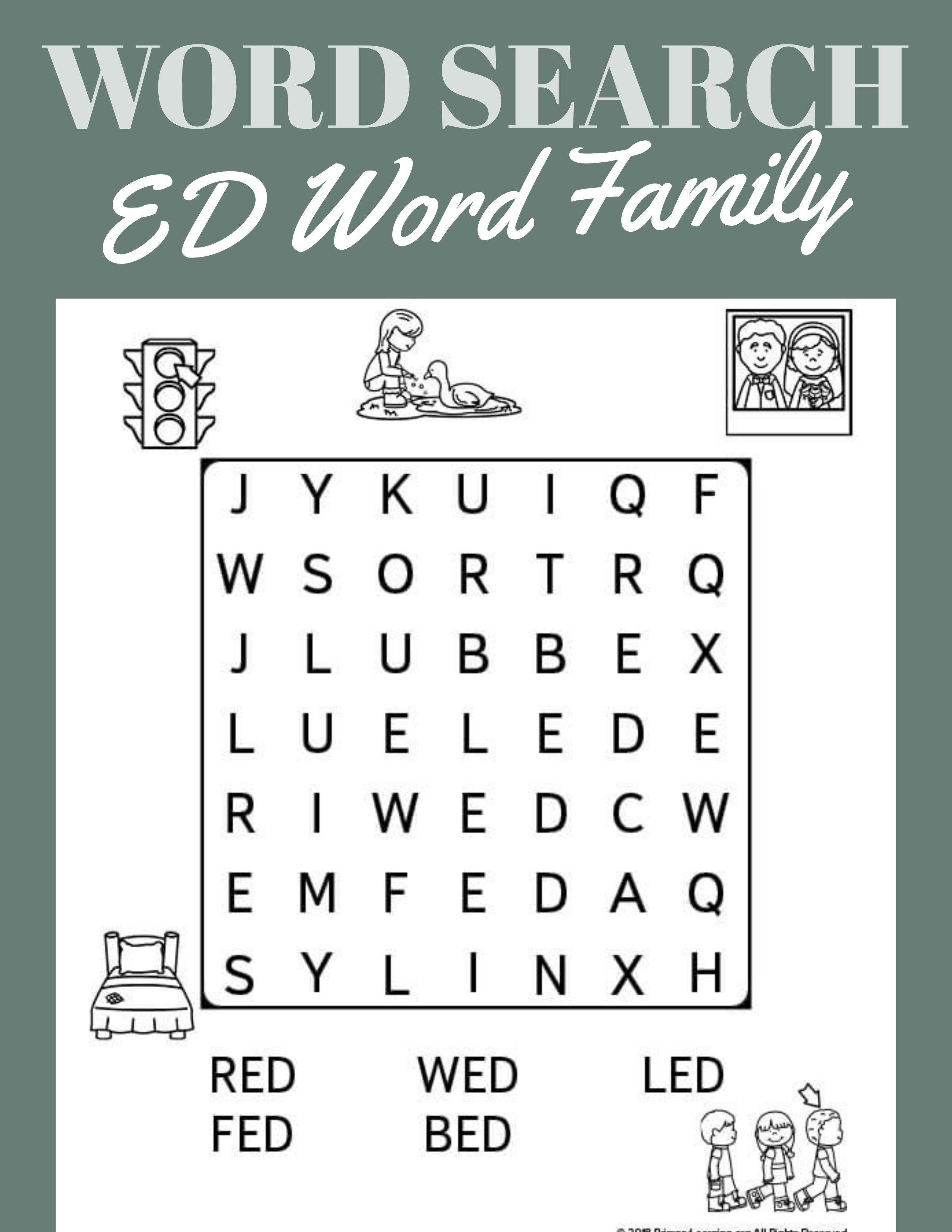 Ed Word Family Word Search Primarylearning Org Word Families Free Homeschool Resources Teaching Homeschool