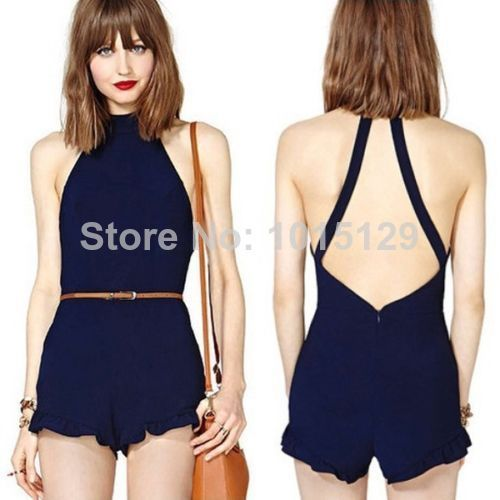 Women's Sexy Short Overalls Jumpsuit High Street Backless Sexy Rompers Lady's Dress