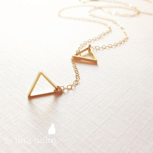Tiny triangle lariat necklace dainty little triangle shape charm tiny triangle lariat necklace dainty little triangle shape charm gold 25 aloadofball Image collections