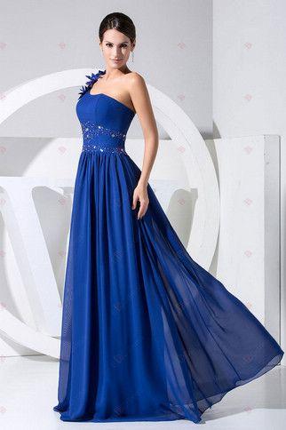 2013 New Design A-ligne une épaule-parole longueur chiffon avec des robes de bal perlée