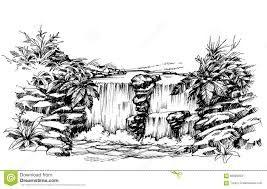 Resultado De Imagen De Dibujar Cascada A Lapiz Dibujo Cascada Paisaje A Lapiz Dibujos