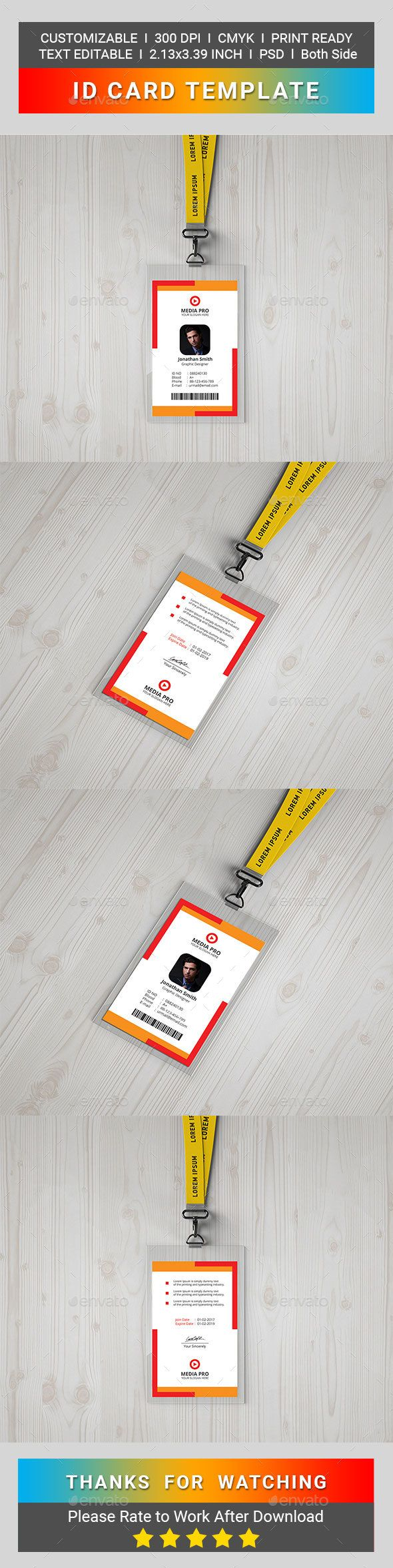 ID Card | Print templates, Template and Card templates