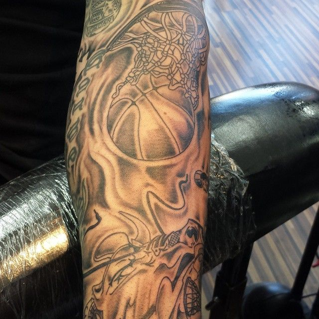 Basketball tattoos with flames