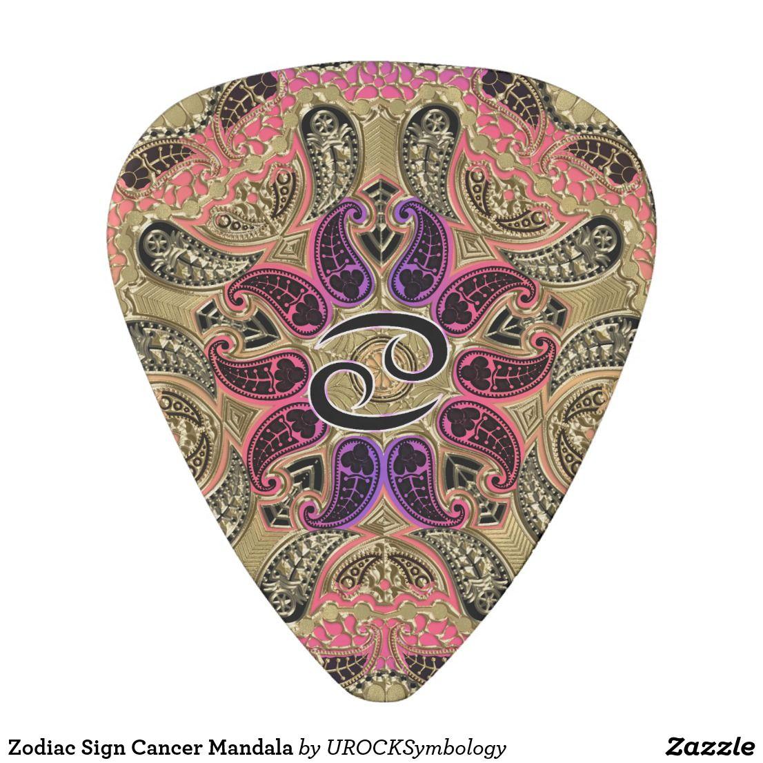 Zodiac Sign Cancer Mandala Guitar Pick