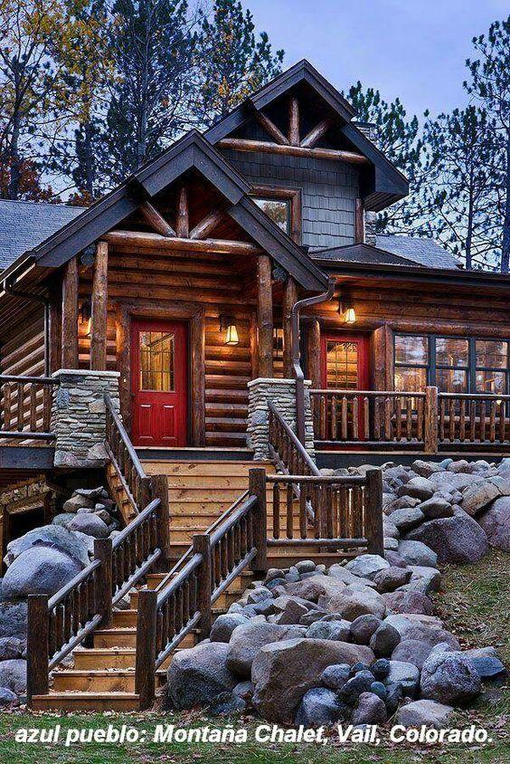 08 fachada de casa rustica en madera escalera para bajar for Fachadas de cabanas rusticas