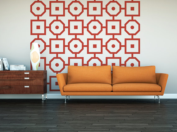 Mid Century Wall Decor geometric wall decal, mid century modern, retro wall decor, modern