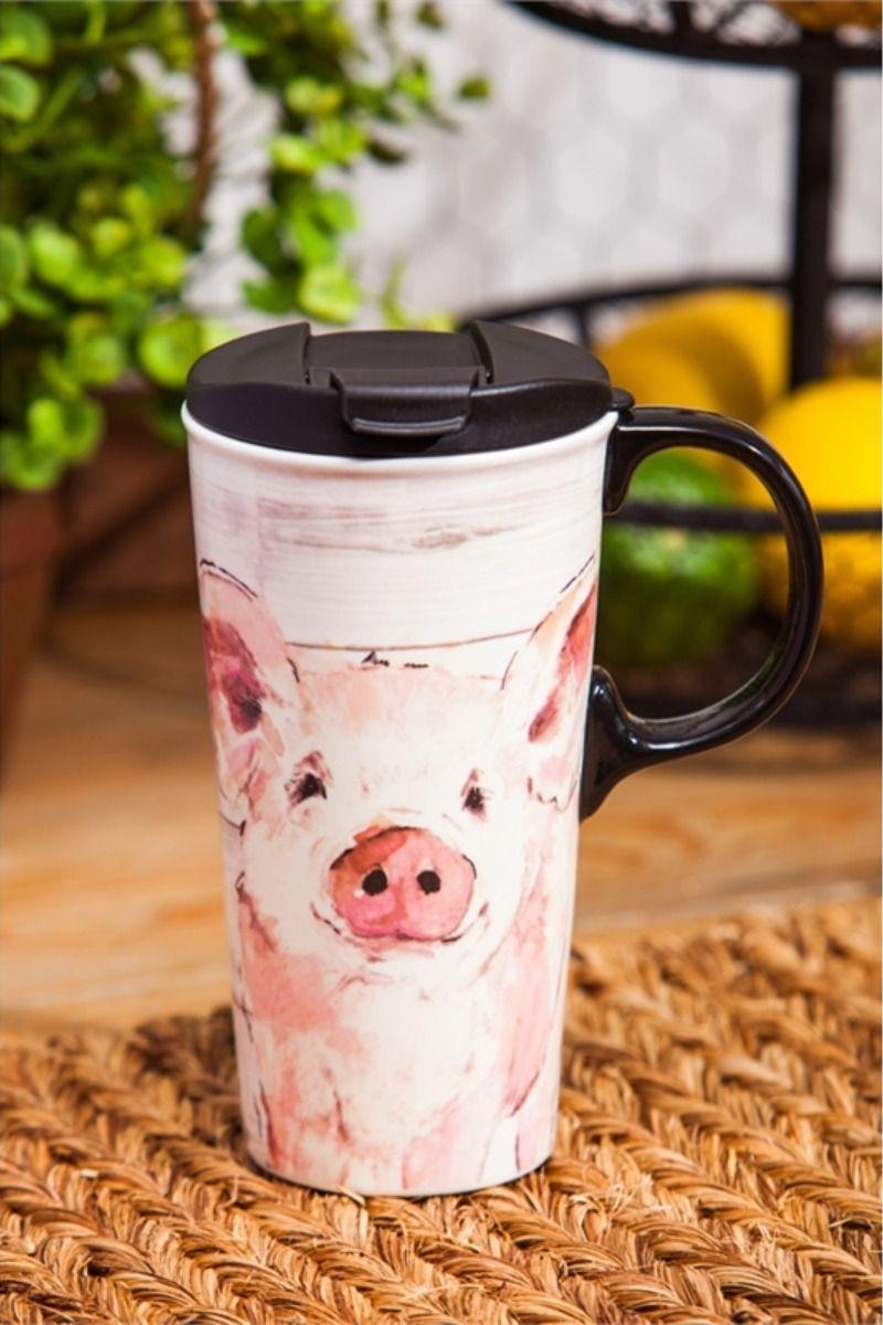 Pretty Pink Pig Ceramic Travel Coffee Mug Myevergreen In 2020 Ceramic Travel Coffee Mugs Mugs Gifts In A Mug