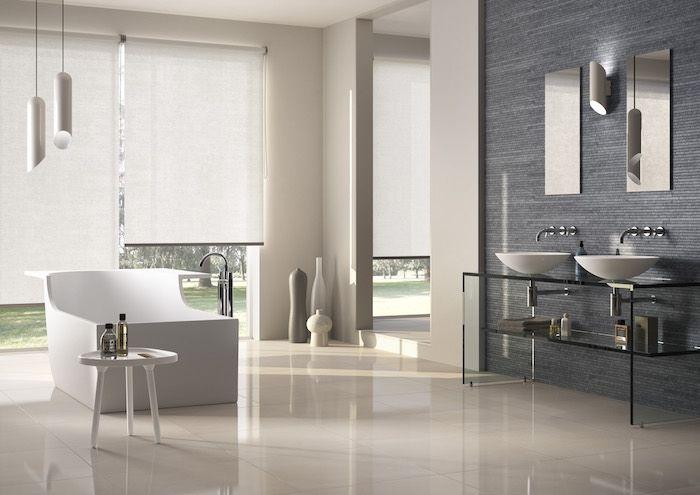 Badezimmer Deko ~ Badezimmer deko creme badfliesen weiße designer badewanne