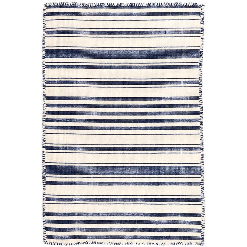 Dash Albert Hampshire Stripe Navy Woven Cotton Rug Cotton Rug Rugs Striped Rug