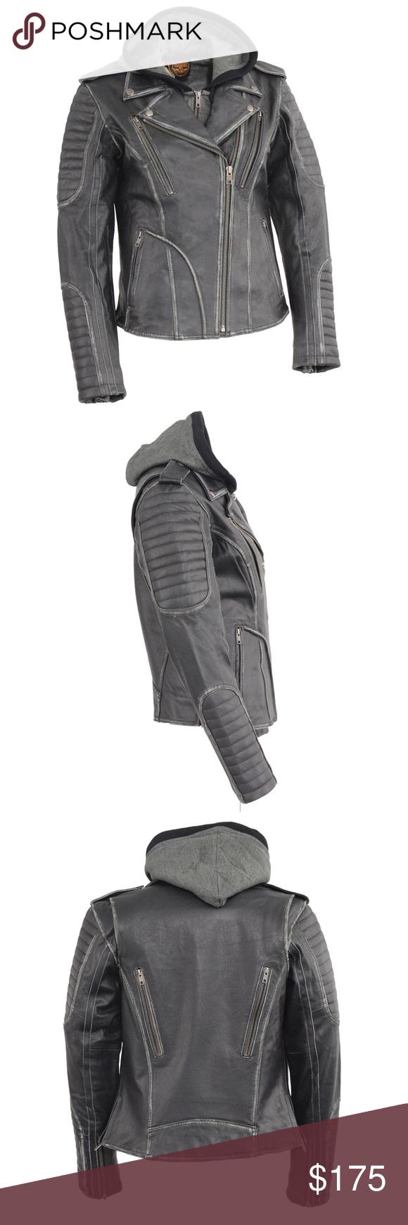 sold on ebay Leather hoodie, Leather jacket, Hoodies