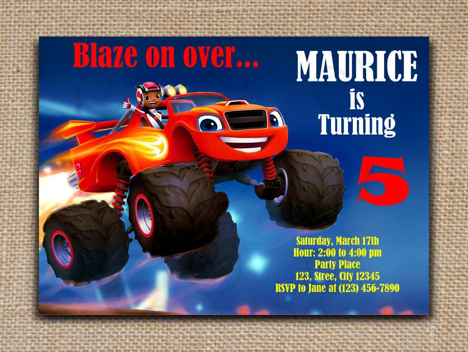 BLAZE And The Monster Machines Printable INVITATION DIY Text Editable PDF File SweetieCakeToppers AnyOccasion