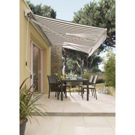 Store banne motorisé Figari, semi coffre aluminium, larg 375 x - store exterieur veranda prix