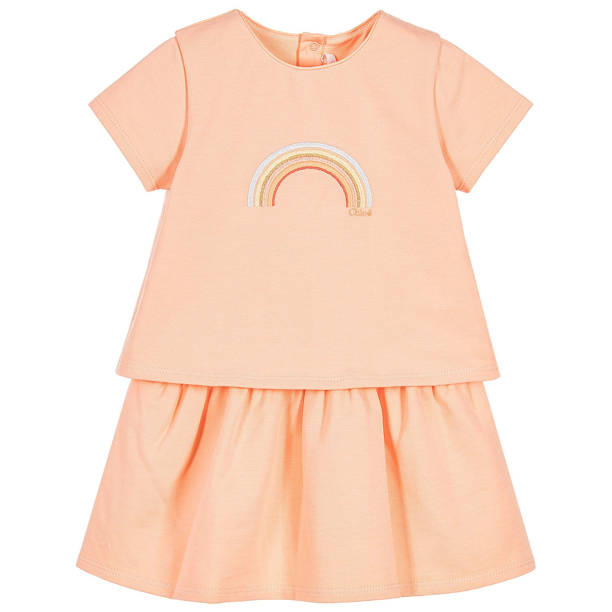 Baby girls pale orange cotton jersey dress from Chloé Made to look