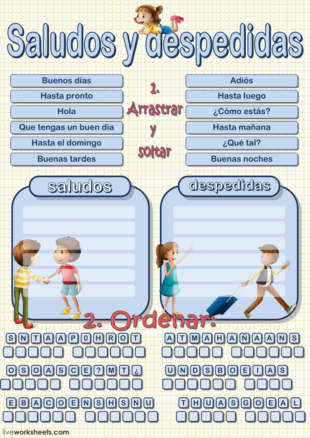 Saludos Y Despedidas Interactive And Downloadable Worksheet You Can Do The Exercises Online O English For Beginners Learning English For Kids Learning Spanish [ 1413 x 1000 Pixel ]