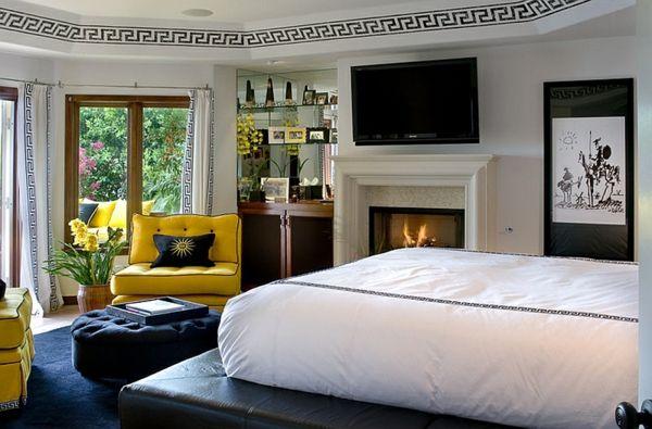 Kühne Schlafzimmer Farben Ideen mit schwarzweißen