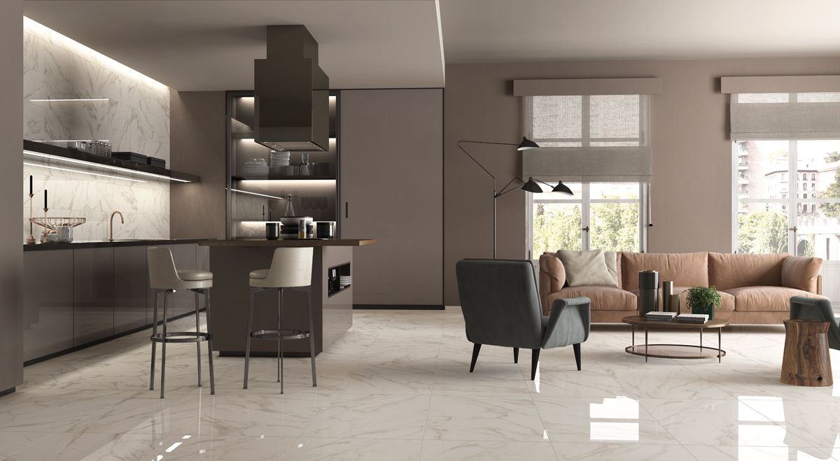 Cucina e living open space con SENSI #abkemozioni Calacatta Select ...