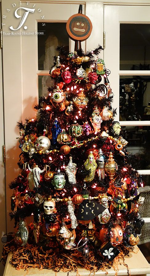 Don't you love this 4 foot black tree full of Halloween ornaments!?