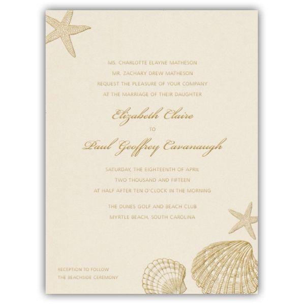 Beach Shells Pearlized White Wedding Invitationspretty but