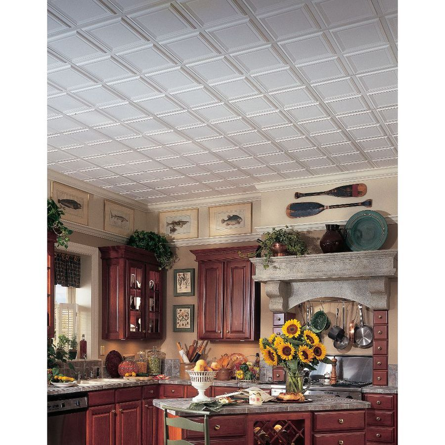 Shop Armstrong 24 In X 24 In Raised Panel Homestyle Ceiling Tile