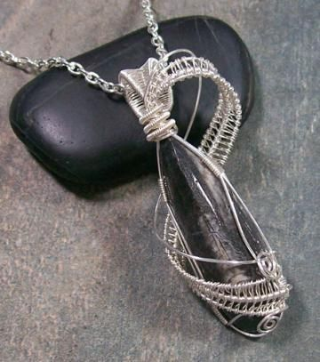 Orthoceras Fossil Wire-Wrapped Lattice Pendant (OFP21) by HeatherJordanJewelry for $54.99