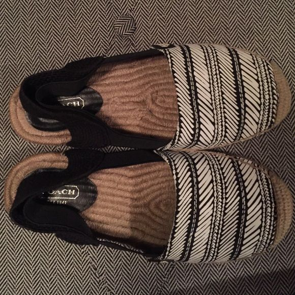 Coach Espadrilles Black and white Coach Espadrilles. Worn five or six times. Like new. Comes loved from a smoke free home. Coach Shoes Espadrilles