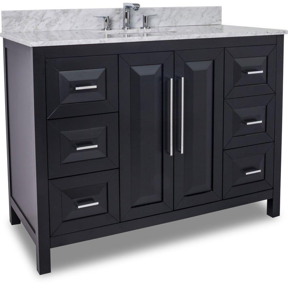 48 Inch Black Finish Single Sink Bathroom Vanity Carrera Marble Countertop Black Vanity Bathroom Single Sink Bathroom Vanity Black Bathroom Storage