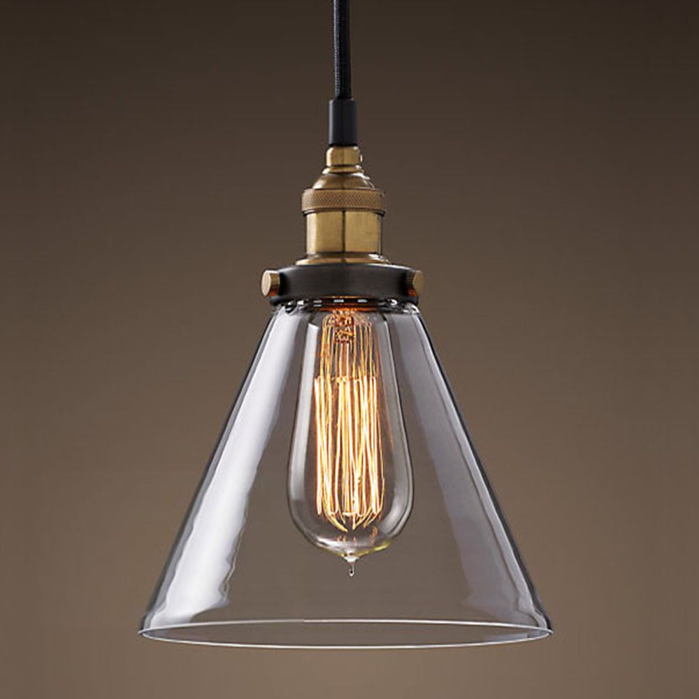 Modern vintage industrial metal glass ceiling light shade for Industrial bulb pendant