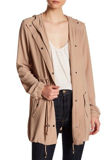 Image of Romeo & Juliet Couture Woven Long Sleeve Hooded Parka Jacket