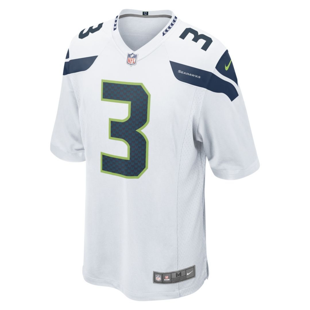 NFL Seattle Seahawks (Russell Wilson) Men s Football Away Game Jersey Size  2XL (White) 3a68a9c04