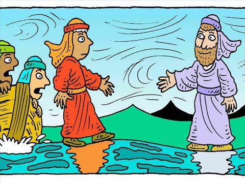 FreeBibleimages :: When Jesus walks on water, Peter tries ...