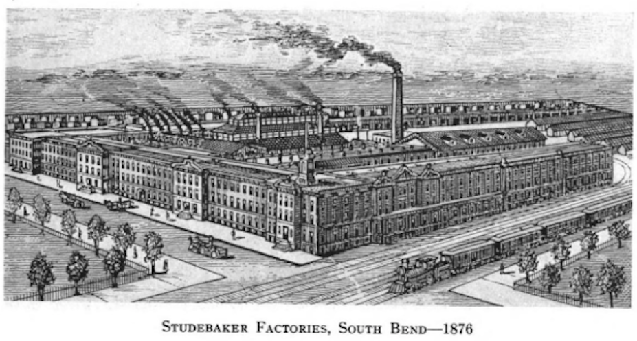 Studebaker factories in South Bend, c 1876.  See: History of the Studebaker Corporation By Albert Russel Erskine