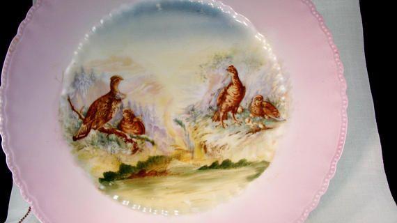 Victoria Austria Porcelain Pink Rim Plate, Victorian Pink Quail Cottage Country Scene, Shabby Chic Serving Plate, Vintage 1900s #pinkrims